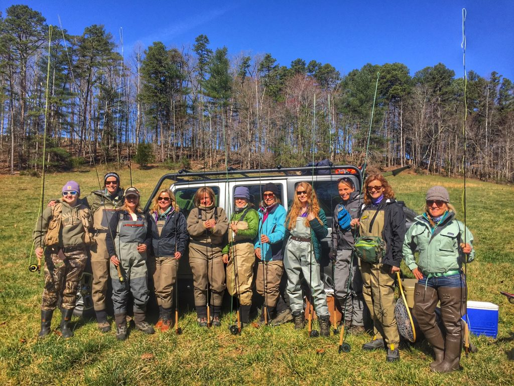 A group of ladies from a fly fishing classes and clinics