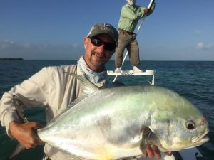 Very large permit caught at La Pescadora Lodge, Punta Allen Mexico. Ascension Bay.