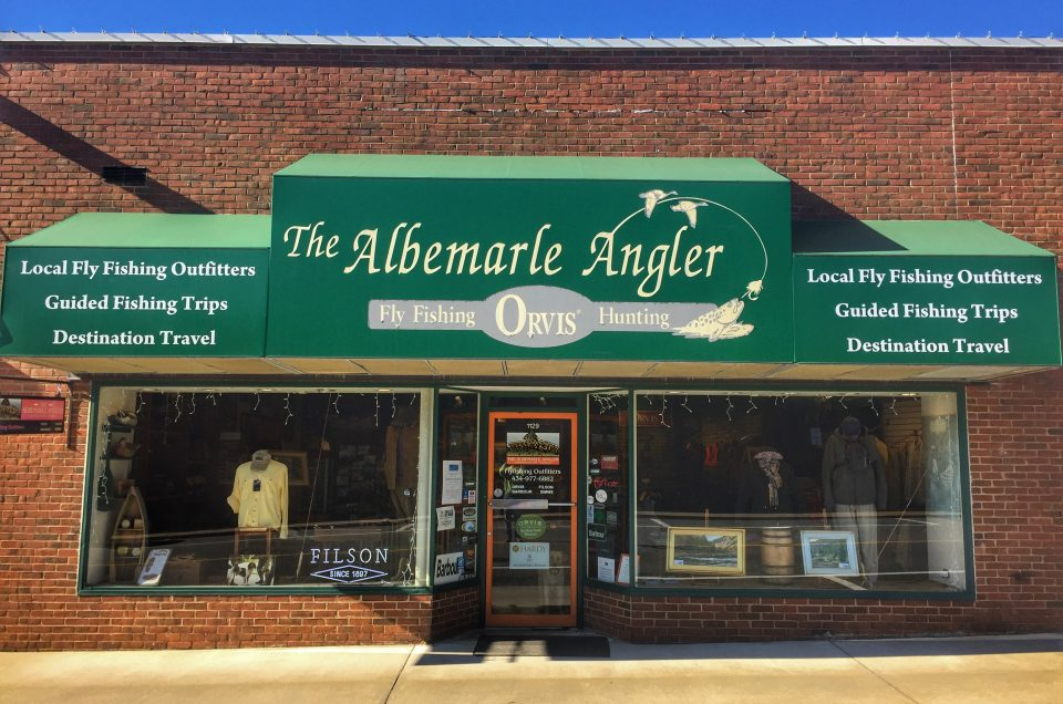 Picture of the Albemarle Angler from outside front of store. Holiday shopping