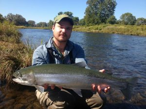 Guide John with a nice steelhead.