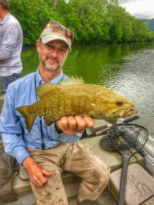 light colored smallmouth bass on the Shenandoah river