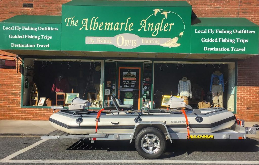 Boat on trailer infront of the Albemarle Angler.