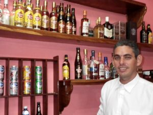 Bartender at lodge in Cuba.