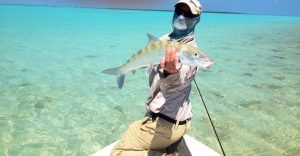 Angler with bonefish from the Land of Giants on the West side of Andros Island.