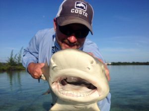 Angler with shark from Andros Island Bahamas.