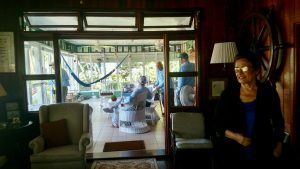View of screened oprch at main lodge, Belize River Lodge.