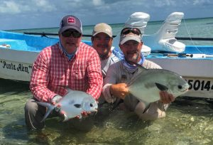 A double header with permit caught at La Pescadora Lodge Punta Allen Mexico.