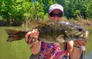 A beautiful smallmouth bass caught on the Shenandoah River, Virginia.
