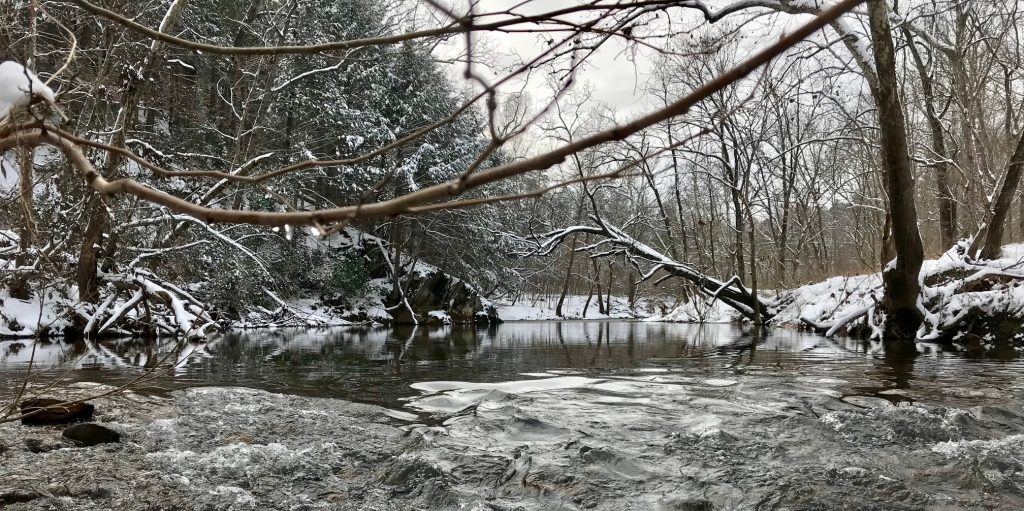 The Moormans river in Central Virginia during winter time.