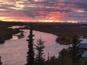 Sunset over the Alagnak River Alaska.