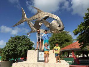 Permit statue in downtown Punta Allen,Mexico. Yucatan Peninsula.