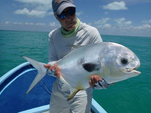 Peter N, with a beautiful permit. La Pescadora Lodge, Mexico.