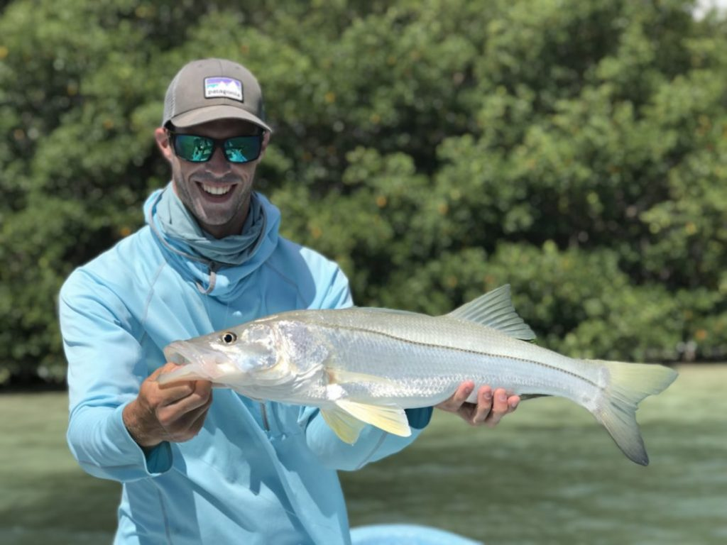 Robbie O, with his first snook ever caught. He was fishing with La Pescadora Lodge on the Yucatan Peninsula in Mexico.