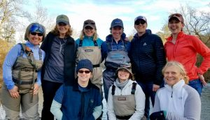 Group picture of ladies fly fishing class.