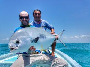 angler with permit in Ascension bay. La Pescadora Lodge, Puntal Allen Mexico.