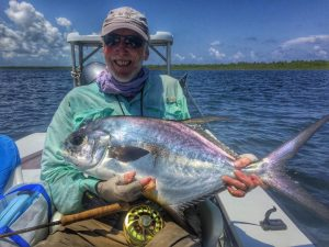 A very strange colored permit caught at Turneffe Flats, Belize and Central America.