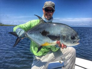 Belize Permit caught while fishing from Turneffe Flats, Belize.