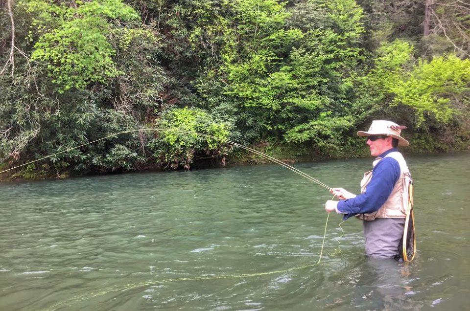 angler fishing Big Bend Farm. Bath County Virginia.
