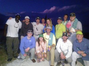 A group of anglers on Andros Island, Bahamas. Fly fishing for bonefish.
