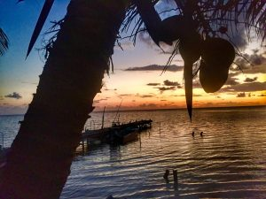 sunrise from the outpost on Long Cay, Belize. Belize River Lodge.
