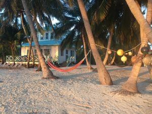View of the outpost lodge on Long Cay, Belize.