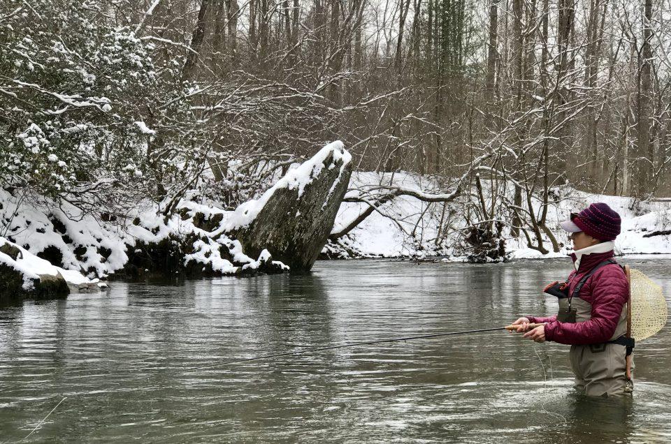 Beautiful winter day fishing in Virginia. Virginia fishing guides.
